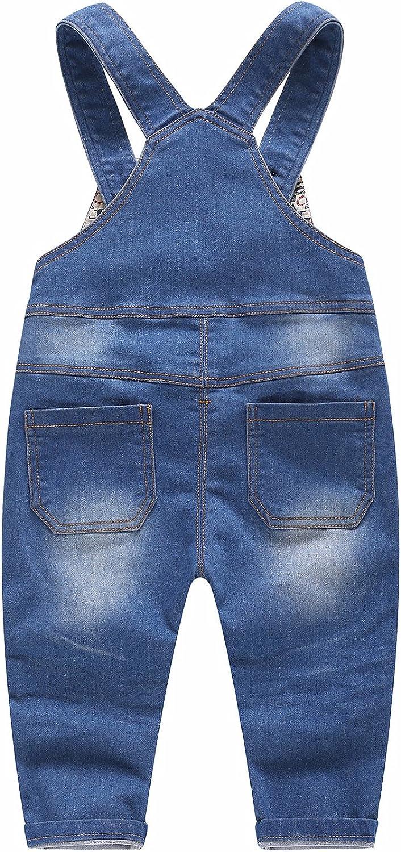 Kidscool Baby /& Little Boys//Girls Stone Washed Big Bib Jeans Overalls