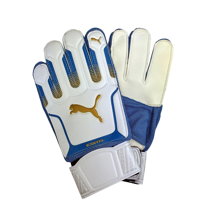 Puma Junior estito XL Latex Torwart Handschuhe Weiß mit Blau für Fußball