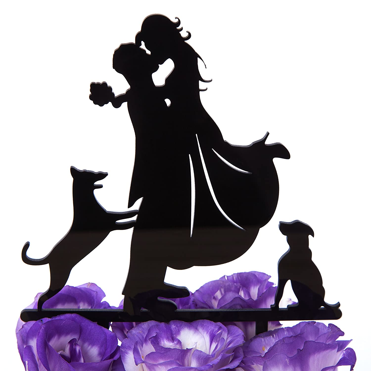 Buy Black Lovenjoy With Gift Box Love Her Love Her Dog Silhouette Acrylic Wedding Engagement Cake Decoration Topper Black 5 Inch Updated Version Online At Low Prices In India Amazon In
