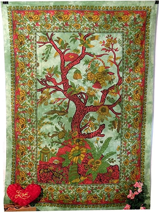 Twin Size Tapestry Cotton Decorative Tree Of Life Design Bed Cover Excellent Art