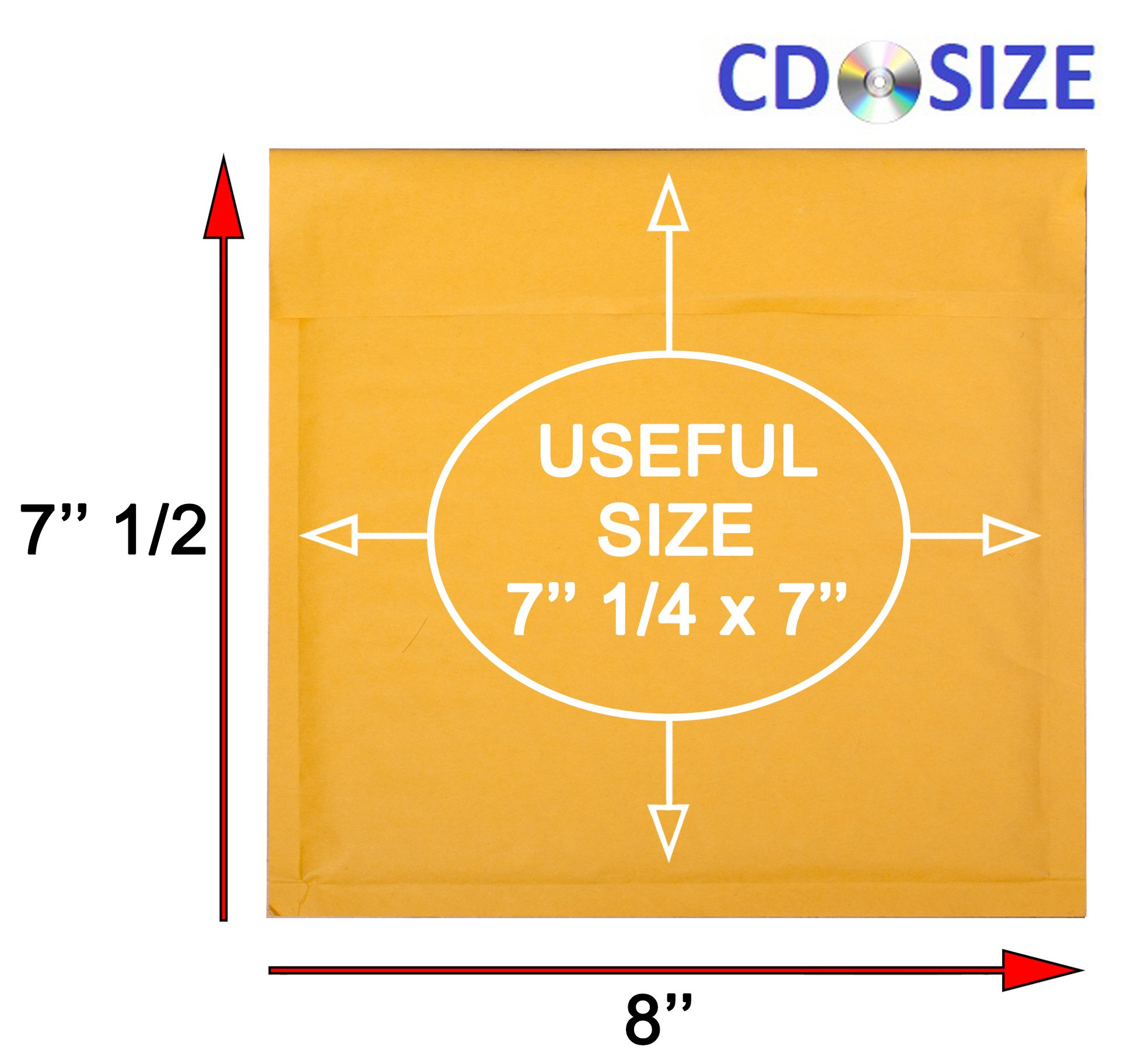 Amiff CD Size Kraft bubble mailers 7.25 x 7 Padded envelopes 7 1/4 x 7. Exterior size 8 x 7.5 (8 x 7 1/2). Peel & Seal. Mailing, shipping, packing. Pack of 20 Kraft Paper cushion envelopes.