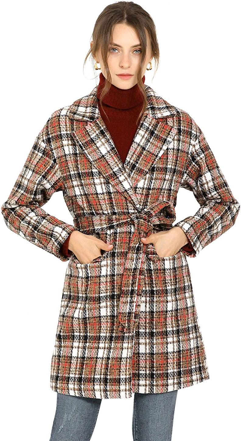Allegra K Women's Tweed Thick Check Belted Tie Waist Plaid Wrap Coat with Pockets