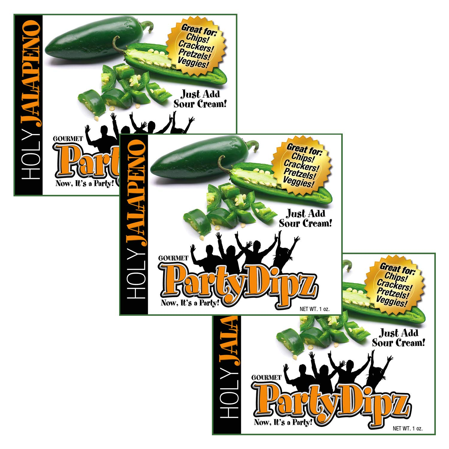 NEW ITEM: 3-Pak PartyDipz Holy Jalapeno Gourmet Dip Mix Packets Dips For Chips Dips For Spreads Bacon Dip Cheddar Dip Great Gift Idea by PartyDipz