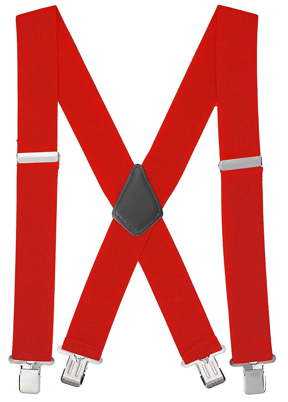 Buyless Fashion Adjustable and Elastic Men's X Back Braces 48'' - 1 1/2