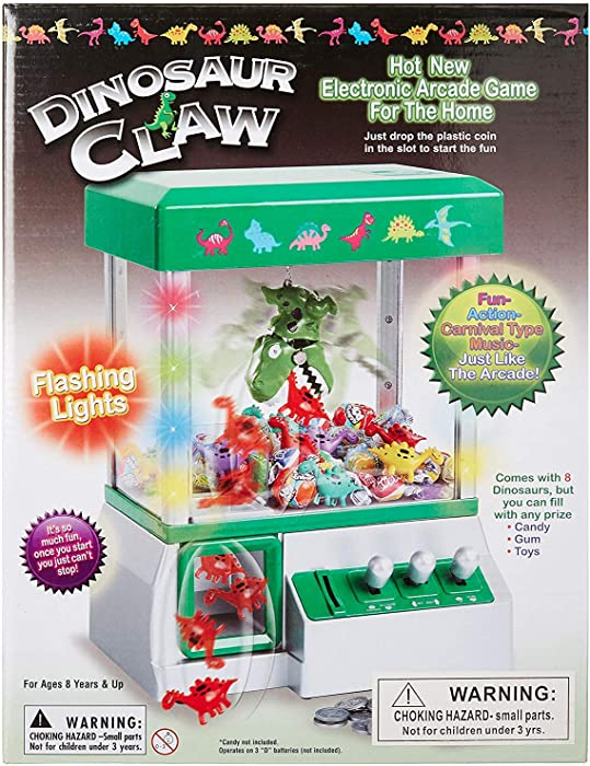 Claw Machine - Arcade Mini Toy Grabber Machine for Kids - Candy Machine- Retro Carnvial Music & Flashing Lights- Best Birthday Gift Game. Use Gumballs, Candy, Toys, or Small Prizes (Green)