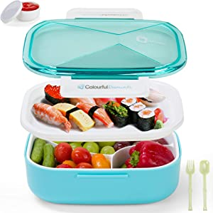 Monka Bento Lunch Box For Adults And Kids, 2 Tire Food Container Leak Proof For Men & Women Microwave And Dishwasher Safe 4 Compartments, Cutlery Included,Blue Color