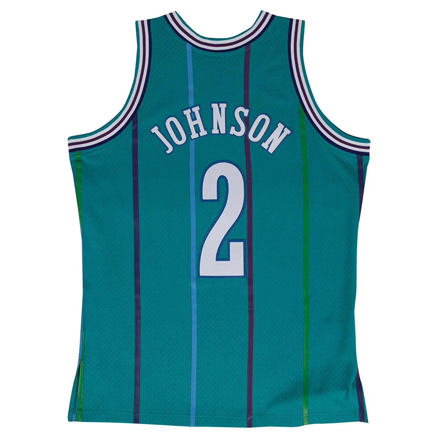 b1789f408ef Amazon.com : Mitchell & Ness Larry Johnson 1992-93 Charlotte Hornets Teal  Swingman Jersey : Clothing