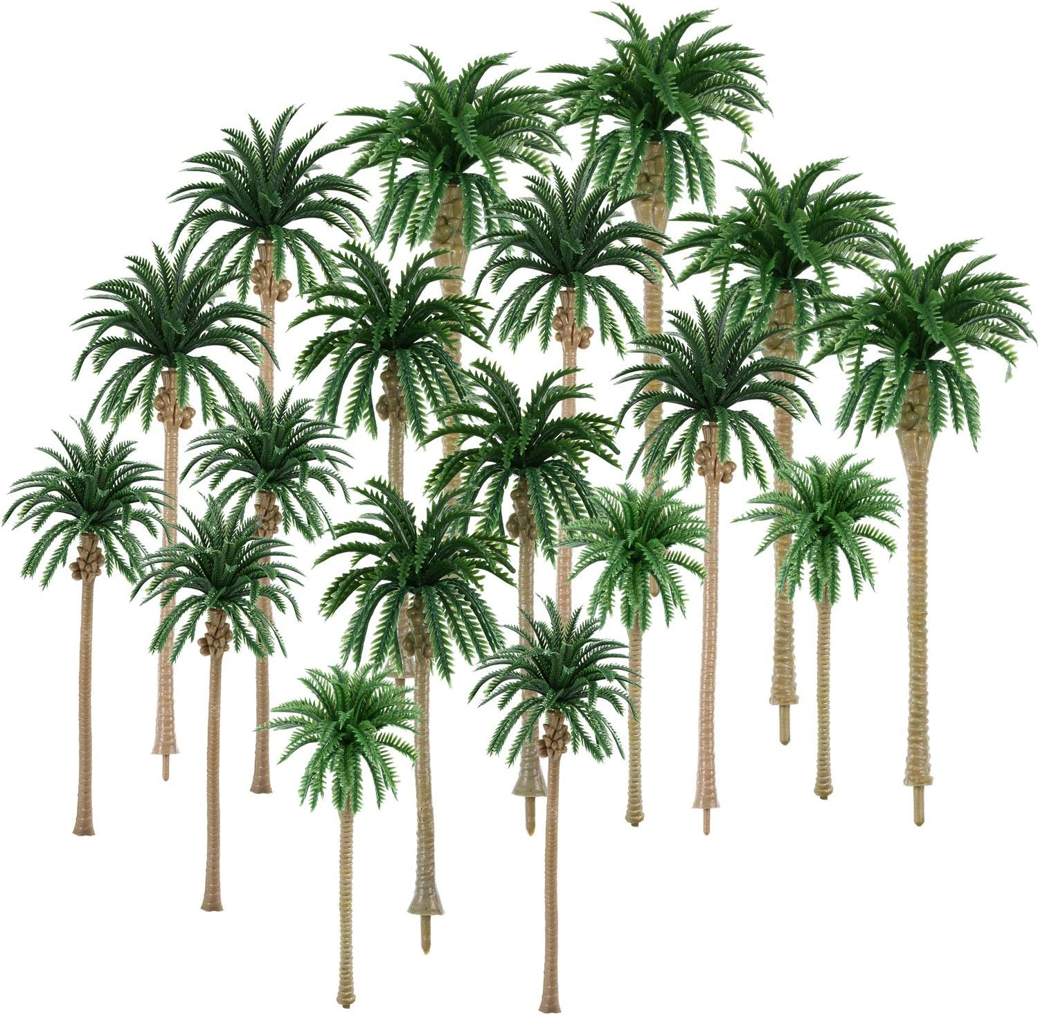 30 Pieces Model Coconut Palm Tree Scenery Model Tree Mixed Model Trees for Model Train Railway Architecture Diorama DIY Scenery Landscape (Style 1)