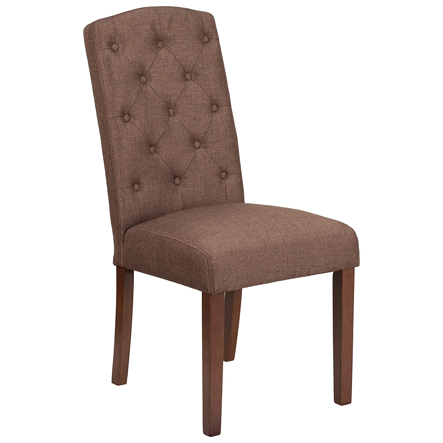 Amazon com flash furniture 2 pk hercules grove park series brown fabric tufted parsons chair kitchen dining