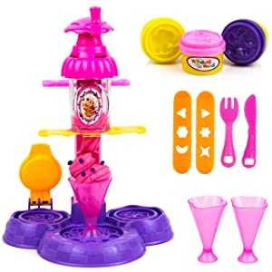 Toysery Wheat mud Ice Cream Machine   Pleasure for Children   Develop Kids Hand-on-Ability   Easy to Use   Great Present for Anyone who Loves Ice- Cream   Comes with Icecream Accessories