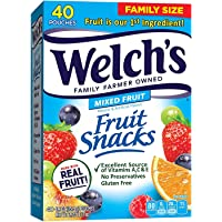 Welch's Fruit Snacks, Mixed Fruit, Gluten xnATFt Free, Bulk Pack, 0.9 oz Individual Single Serve Bags (Pack of 40) (Bundle Pack)
