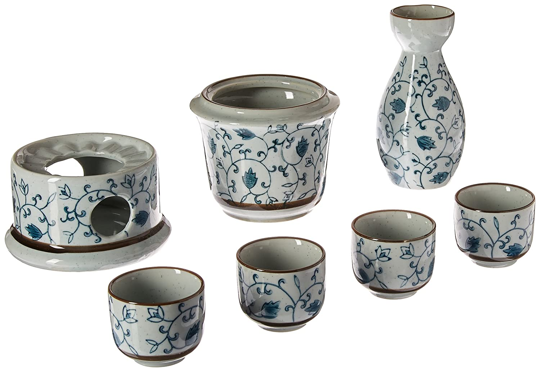 Exquisite Ceramic Blue Flowers Japanese Sake Set w/ 4 Shot Glass / Cups, Serving Carafe & Warmer Bowl MyGift SYNCHKG058469