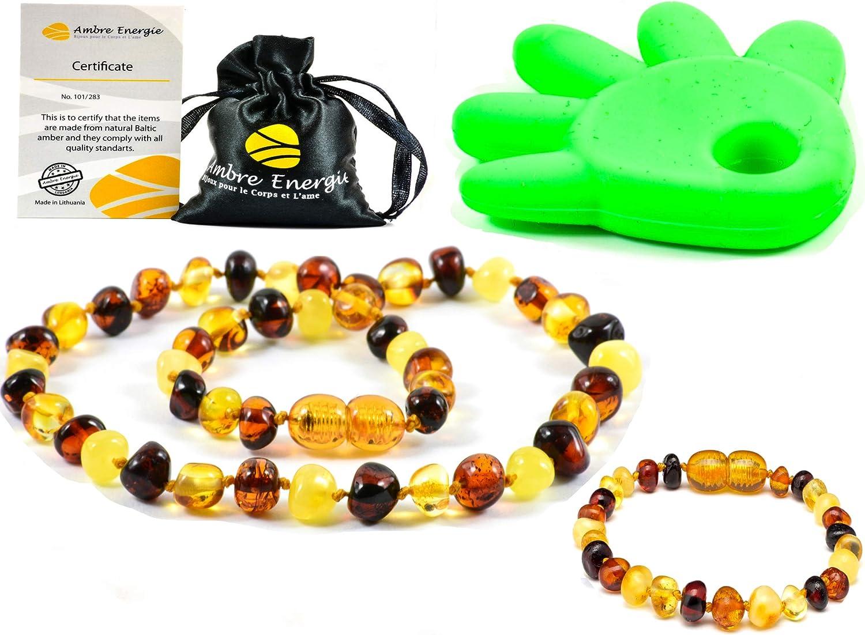 Collar de Ambar 33cm + Pulsera (14cm) - De la Máxima Calidad Certificado Genuino Collar de Ámbar Báltico/Rápido Entrega / 100 Días de Garantía de Devolución de Dinero! (Multi)