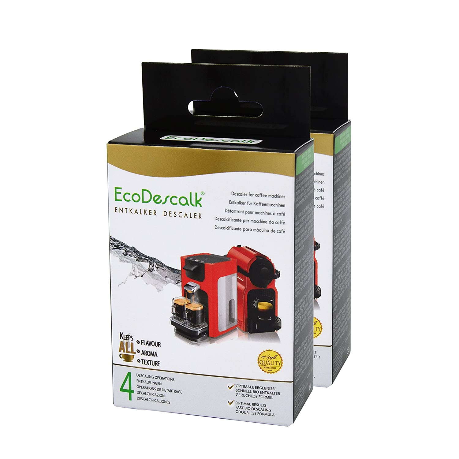 EcoDescalk, 4 Sachets. Powder Descaler and Cleaner for Coffee Machines. Fast-Acting Limescale Remover. All Brands (Bosch, DeLonghi, Krups, Nespresso, Tassimo, Senseo…). 4 Decalcifications. Developed in UK. Nortem Biotechnology