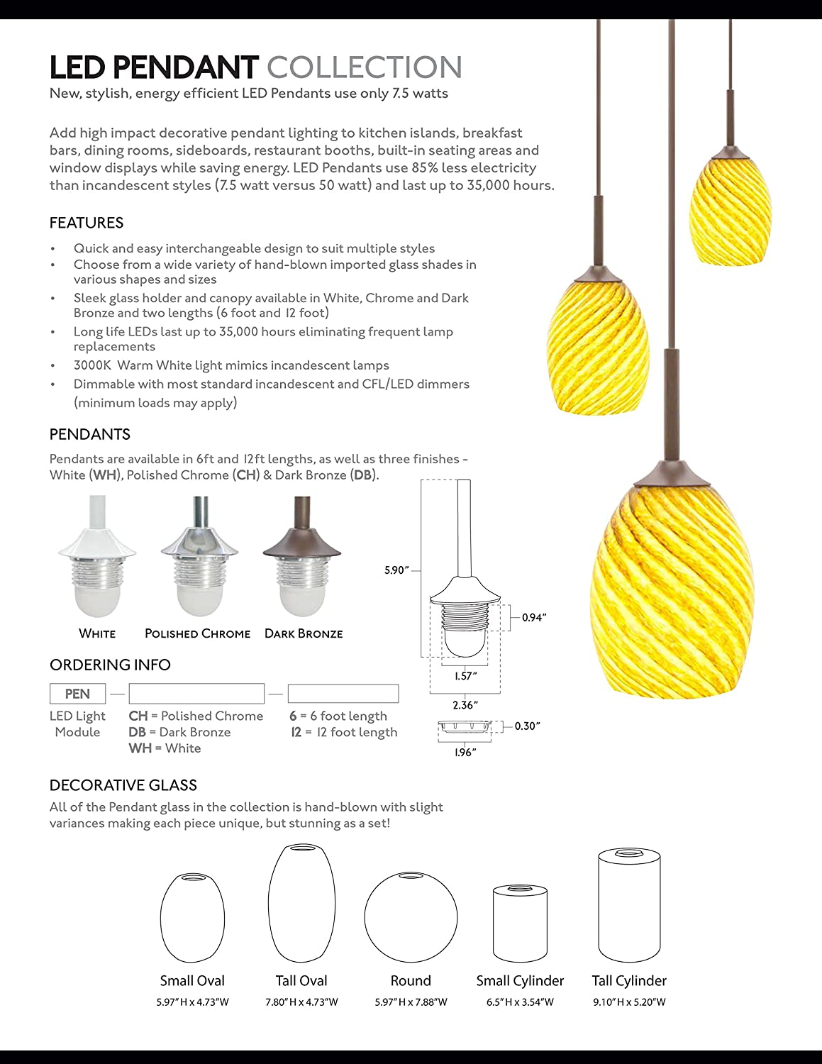American Lighting PEN-WH-6 Hanging LED Pendant Light Module with 6-Feet Cord White