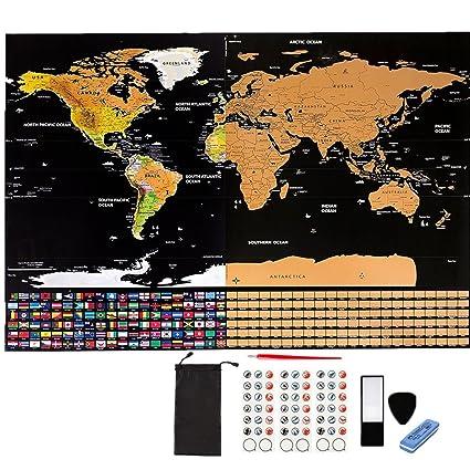Mapa para rascar,Mapa del Mundo,Mapa Scratch Negro dorado Mapa del mundo cartel personalizado con banderas del país, seguimiento de sus viajes, ...
