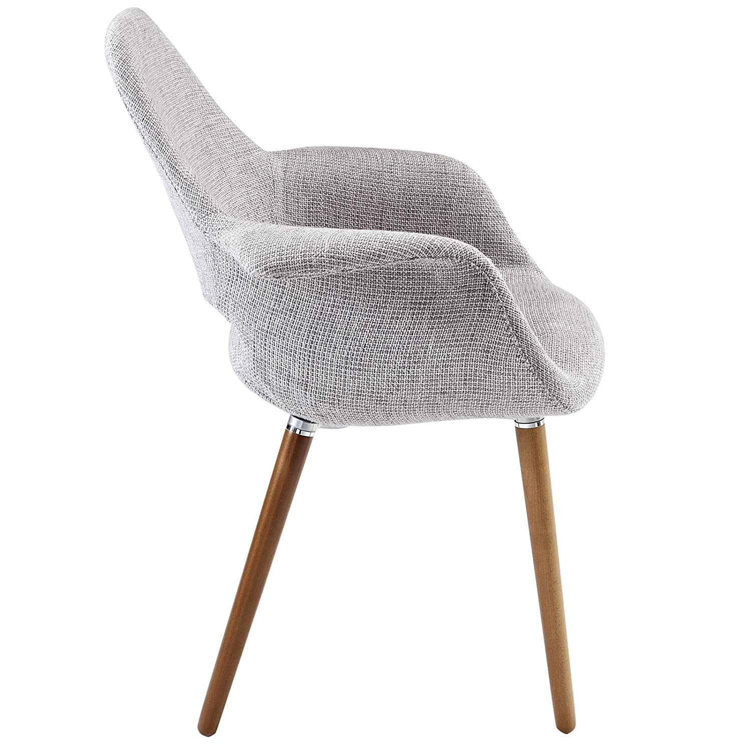 Amazon.com   Modway Aegis Mid Century Modern Upholstered Fabric Organic  Dining Armchair With Wood Legs In Light Gray   Chairs