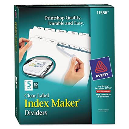 Amazoncom Avery Index Maker Clear Label Dividers X - Avery 5 tab index template