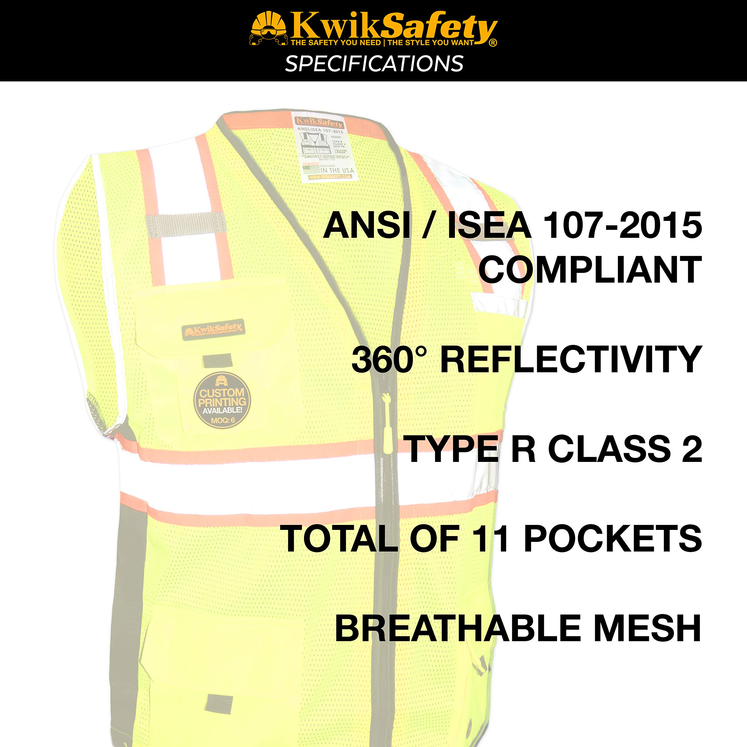 KwikSafety (Charlotte, NC) BIG KAHUNA (11 Pockets) Class 2 ANSI High Visibility Reflective Safety Vest Heavy Duty Mesh with Zipper and HiVis for OSHA Construction Work HiViz Men Yellow Black Small by KwikSafety (Image #6)