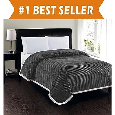 Elegant Comfort Best, Softest, Luxury Micro-Sherpa Blanket on Amazon! Heavy Weight Stripe Design Ultra Plush Blanket, King/Cal King, Gray