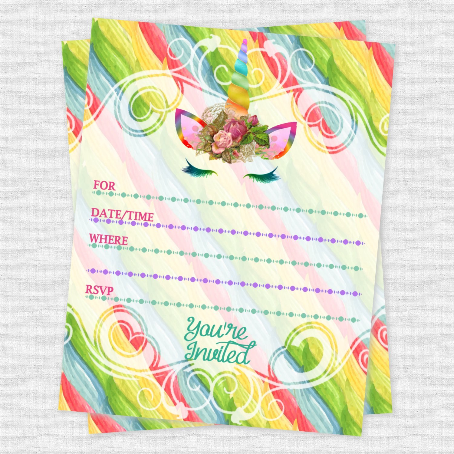 Amazon Unicorn Birthday Invitations For Slumber Party Or Rainbow Baby Shower 20 Count Health Personal Care