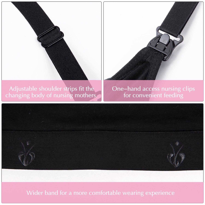 Breastfeeding Bra Hands Free Pumping Bra Lansinoh Philips Black, Medium Adjustable Breastfeeding Bra for Holding Breast Pumps Like Medela Avent Nursing Bra Ameda Spectra