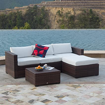 How To Make Outdoor Cushions Waterproof.Auro Outdoor Furniture 5 Piece Sectional Sofa Set All Weather Brown Pe Wicker With Water Resistant Olefin Cushions For Patio Backyard Pool Incl
