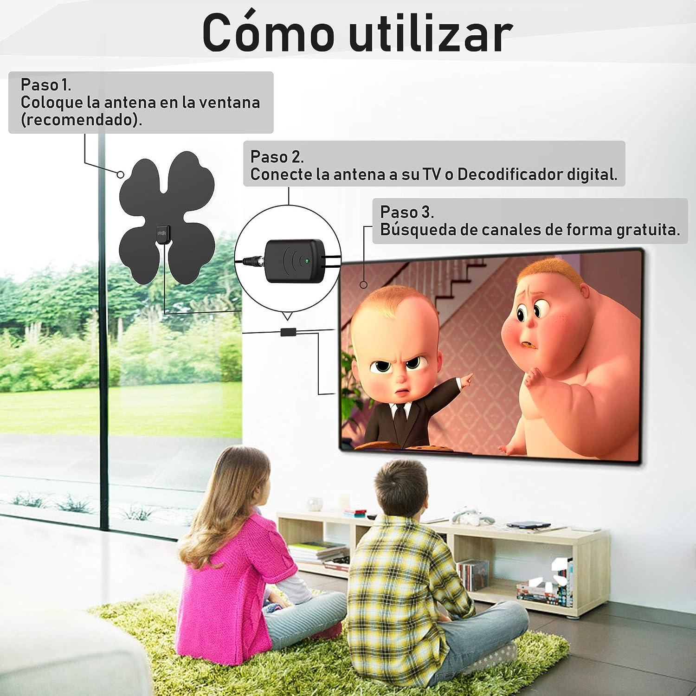 Antena de TV, Zttopo Antena Interior TV para DVB-T,DVB-T2 H.265 hasta 110 Millas Rango Recepción con Amplificador de Señal Cable Coaxial de 3.8m 1080p ...