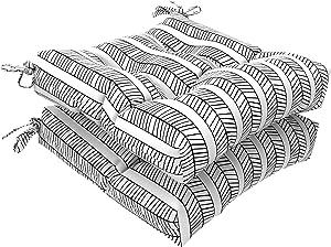 "LVTXIII Outdoor Seat Cushions Square Tufted Chair Cushions, Patio Furniture Decorative Cushions (19""x19""x5"", Herringbone Black White ,2 Pack)"
