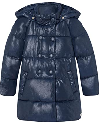 3bb9107d2ca Amazon.com: Mayoral Girl's Navy Shiny Coat, Sizes 2-9: Clothing