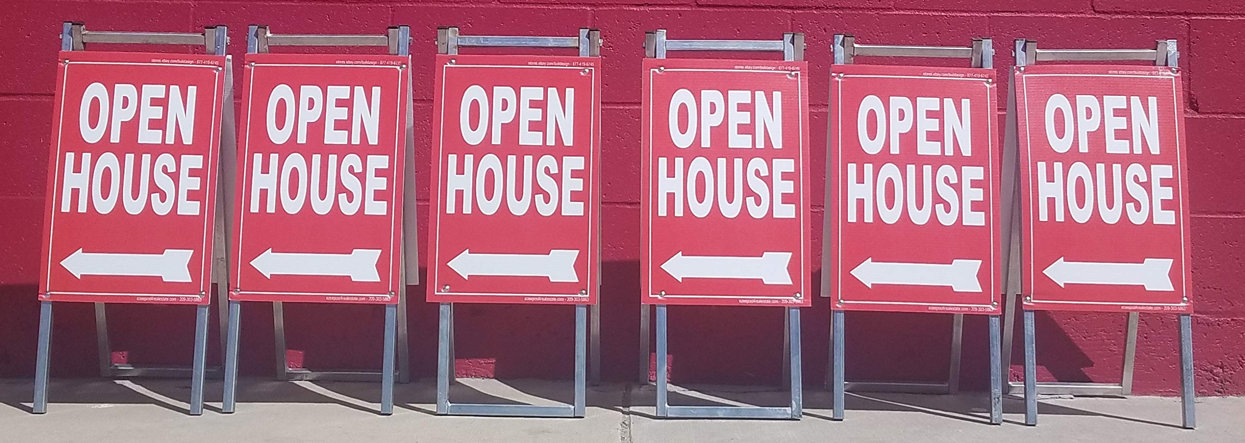 EZee Post Mini Open House A Frame Signs 6-Pack Kit RED