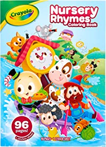 Crayola Nursery Rhymes Coloring Book with Stickers, 96 Coloring Pages, Gift for Kids, Ages 3, 4, 5, 6, Multicolor
