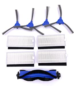 xcivi Replacement Parts Kit HEPA Filters, Side Brushes and Rolling Brush Compatible for Eufy RoboVac 11S, RoboVac 30, RoboVac 30C, RoboVac 15C, RoboVac 12, RoboVac 35C Robotic Vacuums (9 Parts)