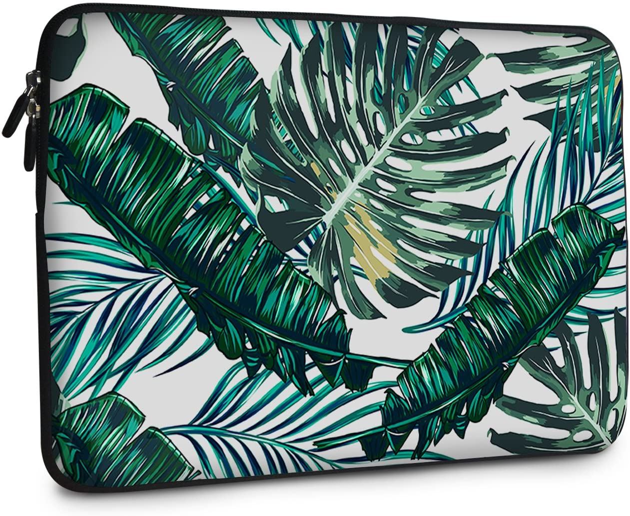 iCasso 13-13.3 inch Laptop Sleeve Bag, Waterproof Shock Resistant Neoprene Notebook Protective Bag Carrying Case Compatible MacBook Pro/MacBook Air - Palm Leaves