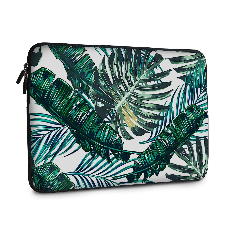 iCasso 13-13.3 inch Laptop Sleeve Bag, Waterproof Shock Resistant Neoprene Notebook Protective Bag Carrying Case Compatible MacBook Pro/MacBook Air - Palm Leaves