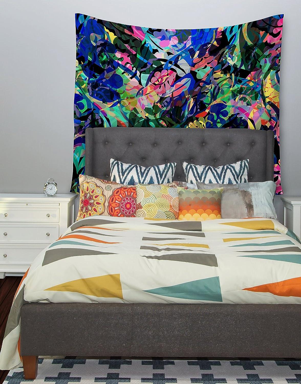 Kess InHouse Gabriela Fuente Flora Splash Dark Rainbow Wall Tapestry 68 X 80