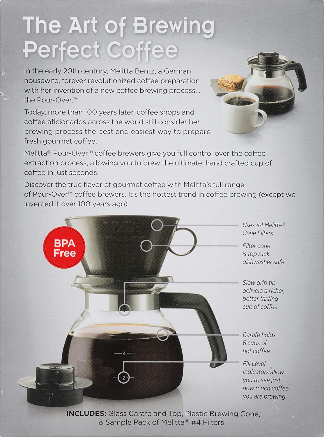 Amazon.com: Melitta 10-Cup Pour Over Coffee Brewer w/ Glass ...