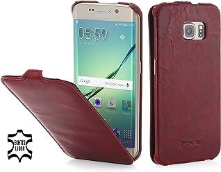 StilGut UltraSlim Case, Custodia in Pelle per Samsung Galaxy S6 Edge, Rosso Lava