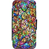 Disney Stained Glass Inspired Leather Flip Phone Case Wallet Cover for iPhone & Samsung (Samsung Galaxy S8)