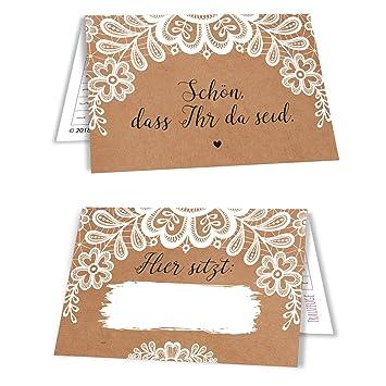 Amazon De 15 Tischkarten Sitzplatzkarten Namenskartchen Hochzeit