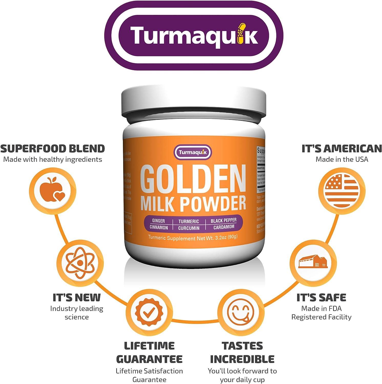 Golden Milk Powder (90 Servings) Turmeric 6 Superfood Blend- Non-GMO Vegan Keto