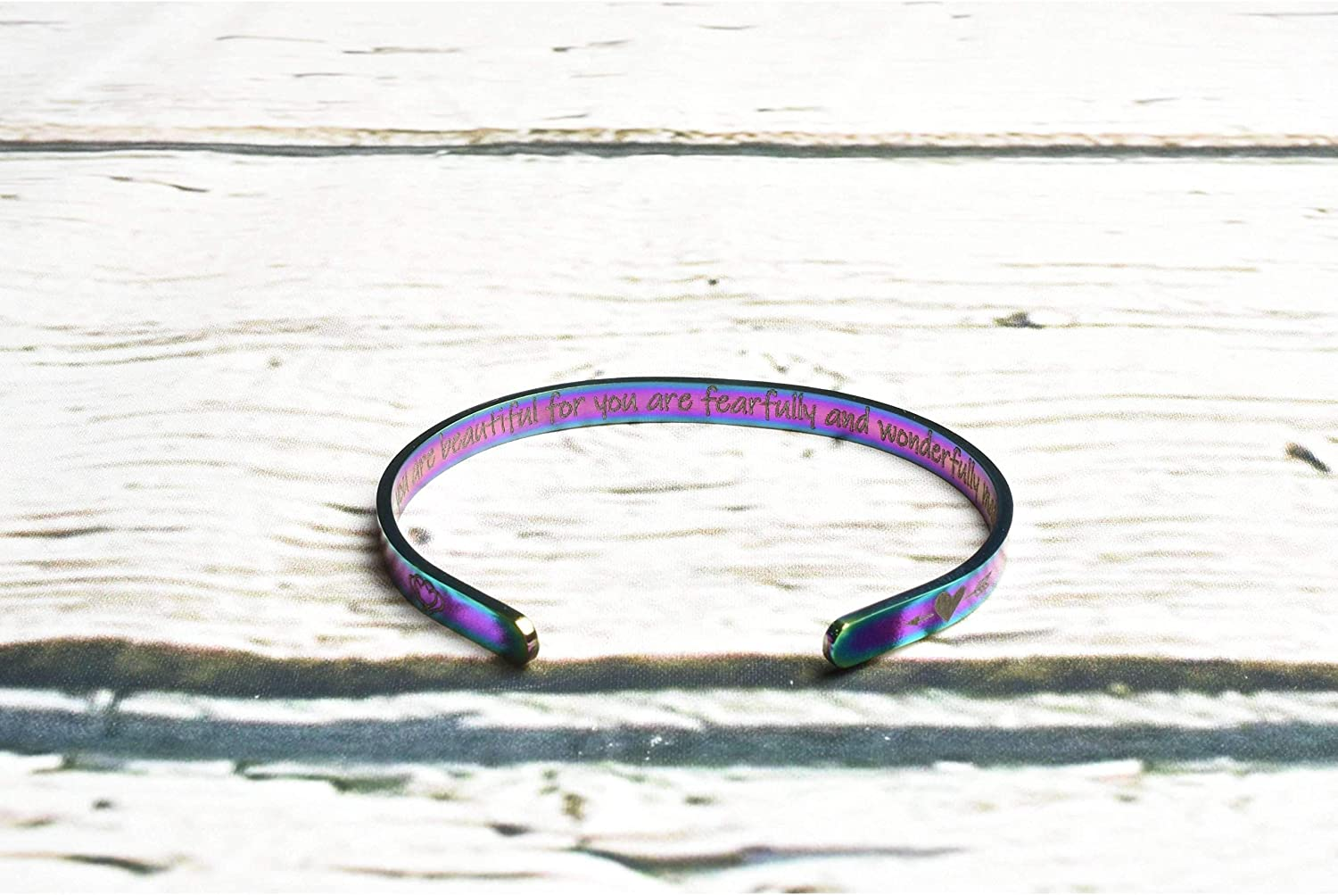 Pink Box Solid Stainless Steel Inspirational Cuff She Believed She Could Rainbow