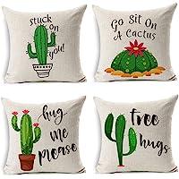 MIULEE Juego de 4 Lino Cojines Cactus Series Funda de Cojín Almohada Caso de Decorativo…