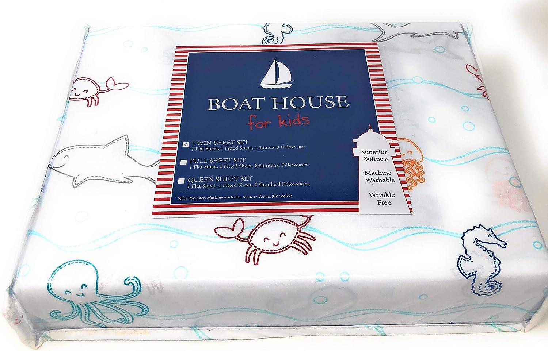 3PC SET Boat House Kids SHARK Aqua Blue FULL//QUEEN QUILT /& PILLOW SHAMS Cotton