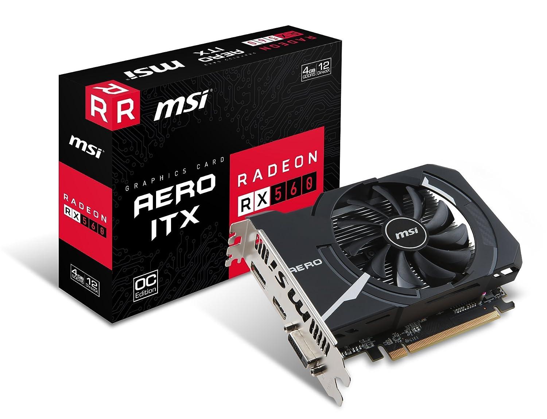 MSI Radeon RX 560 Aero ITX 4G OC - Tarjeta gráfica (tamaño ITX, 4 GB Memoria GDDR5) 4 GB Memoria GDDR5) MSI COMPUTER