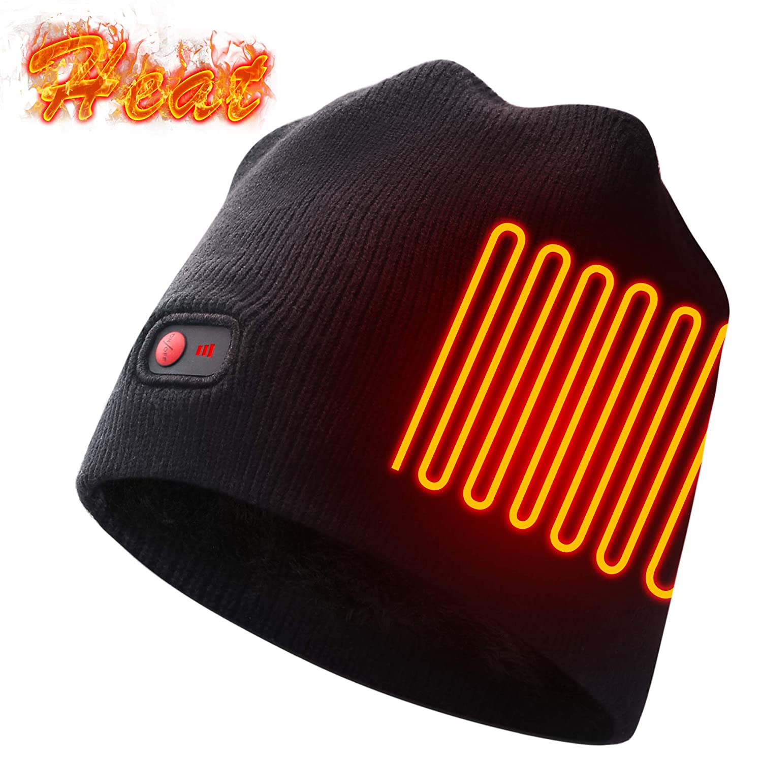 Autocastle Rechargeable Electric Warm Heated Hat Winter Battery Skull Beanie,Black,3 Heat HEAT WARMER HEATED HAT AT-7.4 Hat 05349
