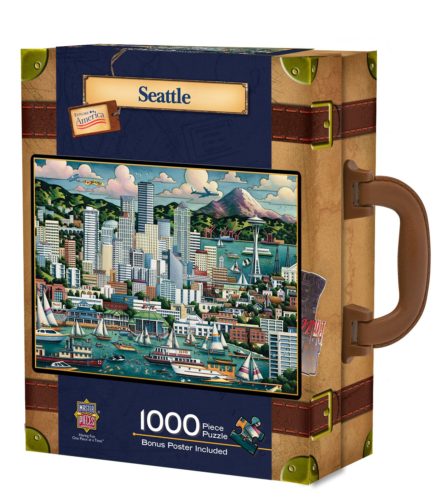 MasterPieces Travel Suitcases Seattle Jigsaw Puzzle, Art by Eric Dowdle, 1000-Piece