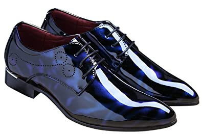 Santimon Schnürhalbschuh Lackleder Schuhe Herren Derby Klassischer Rahmengenähter mit Oxford Schnürung Rote 44 EU FuG1cJ