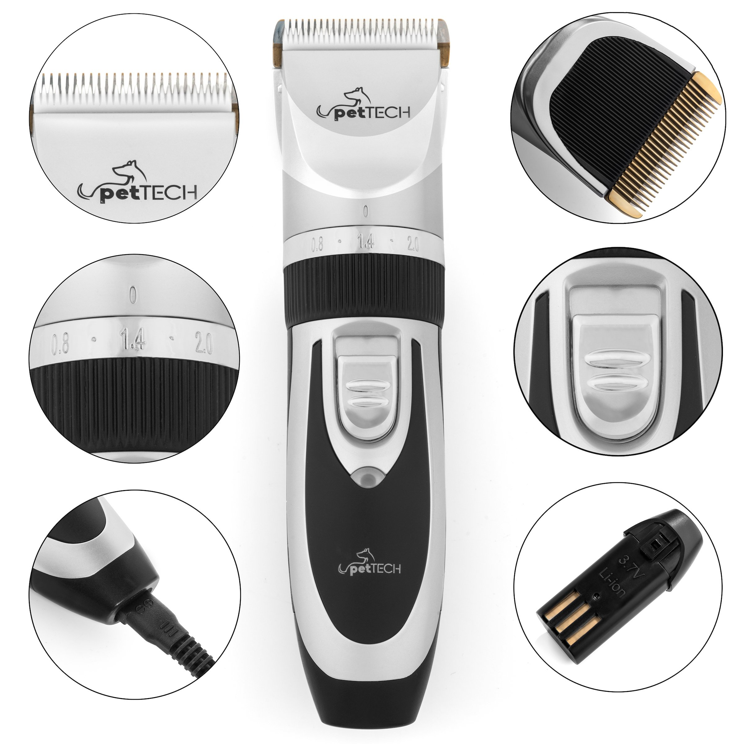 PetTech Professional Dog Grooming Kit - Rechargeable, Cordless Pet Grooming Clippers & Complete Set of Dog Grooming Tools. Low Noise & Suitable for Dogs, Cats and Other Pets by PetTech (Image #6)