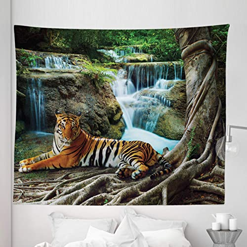Lunarable Safari Tapestry King Size, Indochina Tiger Laying Under Banyan Tree Against Limestone Waterfall Relaxing Nature, Wall Hanging Bedspread Bed Cover Wall Decor, 104 X 88 , Green